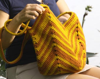 Brown and yellow crochet beach bag, Crochet market bag, shoulder bag, Handmade summer bag, striped crochet bag, Boho bag