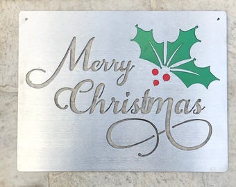 Stainless Steel Merry Christmas Sign