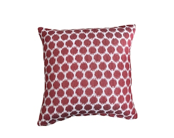 Jane Churchill - Patino Red - Red Ikat style dots on neutral woven ground - Square pillow