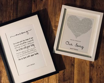 Our Song - Ed Sheeran - Shape of You Song Lyric Print - personalised - A4 (Frame Not Included)