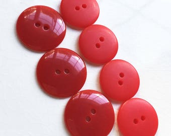 eco friendly shiny and matte non decorative Christmas red buttons--mixed lot of 7