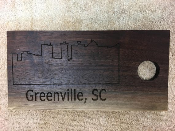 Laser Engraved Greenville Skyline Walnut Cutting Board