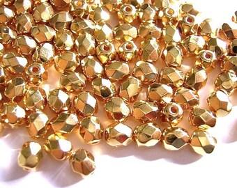 New 25 Czech Glass Beads 24KT GOLD FINISH 3mm