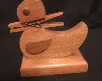 Vintage Duck Desk Item Ducky Letter Holder Primitive Wooden Duck