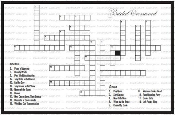 Crossword Puzzle for the Bride & Groom Digital File