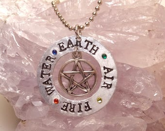 Earth, Air, Fire, Water pendant necklace (print font)