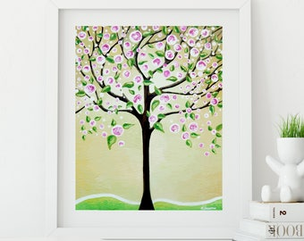 Lime Green Tree of Life Print Wall Art, Pink Cherry Blossoms Tree Whimsical Art Living Room Decor
