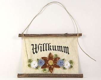 Willkumm, Pennsylvania Dutch Welcome, Paper Quilled Welcome Sign, 3D Quilled Banner, Brown Blue White Decor, PA Dutch Gift, Rustic  Decor