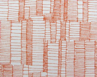 Tangerine fabric by the yard from Robert Kaufman - orange fabric - modern fabric - geometric fabric - Doe fabric #17053
