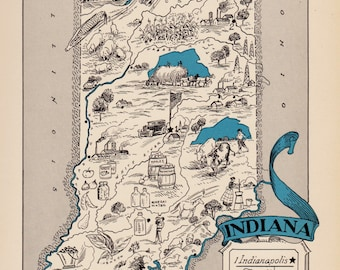 30's Vintage INDIANA Picture Map State Cartoon Map Print Gallery Wall Art Library Office Decor Wedding Birthday Gift for Map Collector