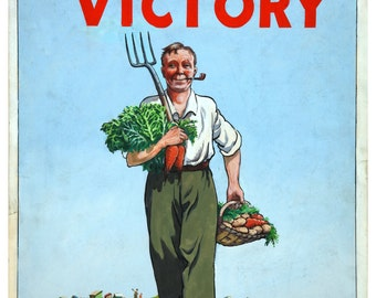 Vintage Dig on For Victory War Poster Print