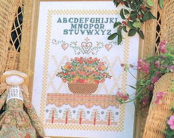 Flower Basket Sampler Cross Stitch - Alphabet Sampler Cross Stitch - Vintage Cross Stitch