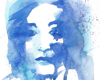 Watercolour/gouache art print, abstract blue female portrait, wall art