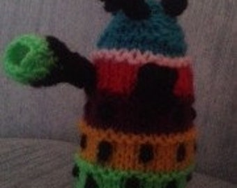 Miniature knitted dalek