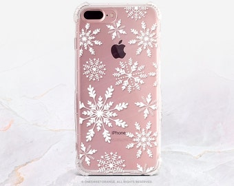 iPhone 8 Case iPhone X Case iPhone 7 Case Snowflakes Clear GRIP Rubber Case iPhone 7 Plus Clear Case iPhone SE Case Samsung S8 Plus Case H11