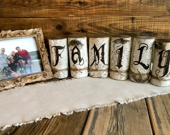 Family Wood Sign Personalized Farmhouse Letter Decor Woodland Birch Rustic Signs Name Block Handmade Inspirational Housewarming Wedding Gift