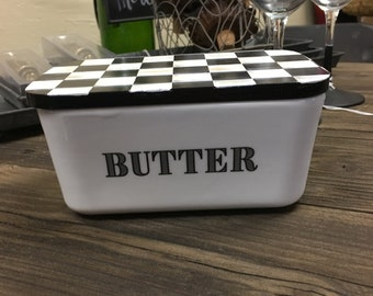 Black and White checker Butter Dish!!