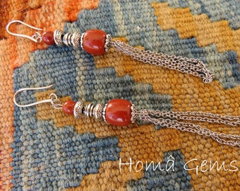 Earrings, red Jasper stone, fringe, tassel, pendant beads.