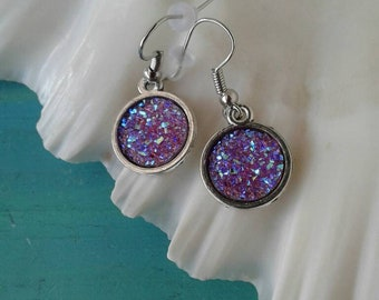 Purple Druzy Earrings, Druzy Earrings