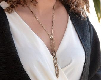 Bronze Crystal Deco Y Necklace, Long Necklace, Crystal Y Necklace, Art Deco Jewelry, Wedding Necklace, Gold Y-Necklace, Bridal Jewelry N1446