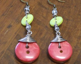 Red and yellow wire wrapped button earrings