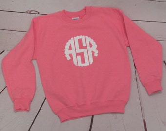 Children's Monogram Sweatshirt; Youth Custom Sweatshirt; Kid Sweatshirt