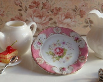 Dollhouse Miniature Staffordshire Rose Pink Plate.