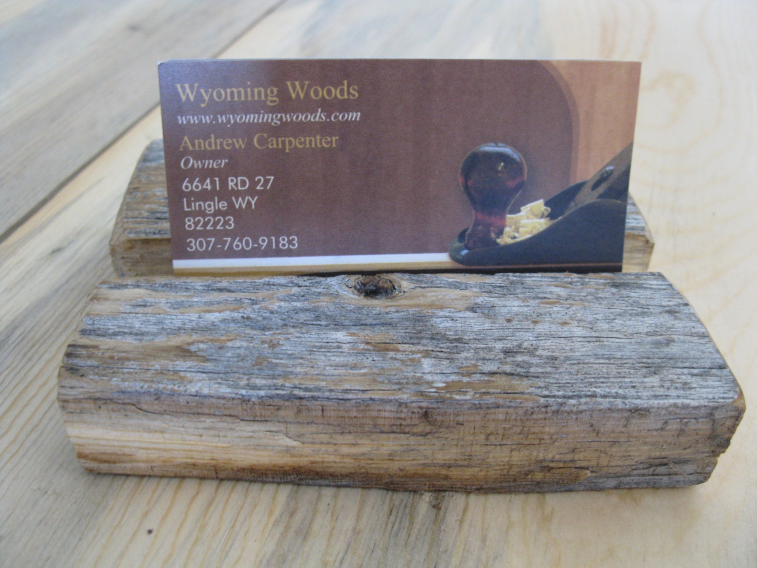 Barnwood Business Card Holder Wooden Office Reclaimed Rustic