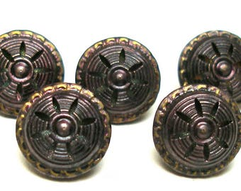 """1800s Antique BUTTONS, 5 Victorian metal twinkles in plum, 1/2""""."""