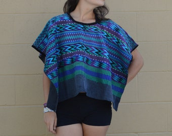 Vintage MAYAN Huipil PONCHO GUATEMALA Textile Top Tablecloth Festival Fashion