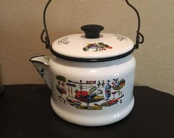 Vintage Mid Century Mod bouilloire théière en émail, décor kitsch, coloré théière, bouilloire vintage, manche en bois