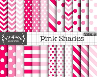 24 x Pink Digital Papers, Pink Polka Dots, Pink Spots, Pink Chevrons, Pink Diagonal Stripe, Baby Pink, Digital Download, Commercial Use