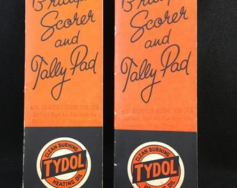 Advertising Tydol Bridge Score Pads Vintage Tally Pads Paper Ephemera Card Games 1940s Mid-century