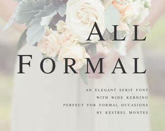 Digital Wedding Font by Kestrel Montes All Formal Serif Font, Installable Font File, DIY wedding invitation font, business logo font