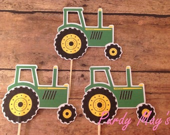 Tractor Cupcake Toppers, Tractor Picks, Tractor Toppers, Tractor Party, Farm Party, Green and Yellow, Farm Picks, John Deere Picks, Cupcakes