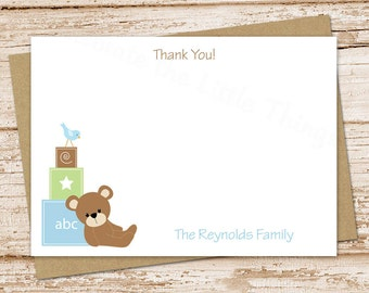 baby boy thank you cards . teddy bear blocks . personalized note cards, notecards, FLAT stationery, baby shower . set of 10