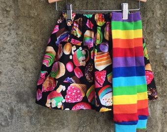 Girls Rainbow Cake, Cupcakes, Cookies Skirt with Pocket and Leg Warmer Set - Baby, Toddler, Big Kid Sizes - Birthday Gift or Party Outfit