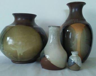 Lot Sale of Mid Century Modern Pottery Craft Vases