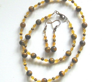 Jewelry set, necklace, bracelet and earrings, round Tigereye beads and fire polished crystals