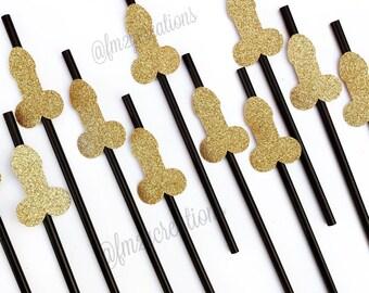 Penis Straws Bachelorette Party Decor | Glitter Penis Straws | Dirty 30 Party | Pink and Gold Bachelorette Party | Hen Party Decor