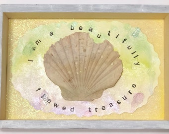 One-of-a-kind Handmade Scallop Shell Wall or Counter Wood Plaque