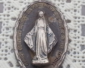 Vintage Large Sterling Silver Miraculous Virgin Mary Medal Pendant 1 3/8 inch long