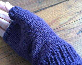 Purple handwarmers, dark purple fingerless gloves, with crochet cuff, crocheted rib, knitted mitts