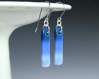 Handmade Ceramic Earrings, Blue Porcelain Earrings, Blue Drop Earrings, Surgical Steel or Sterling Ear Wires, Blue Ombré Earrings, Pottery