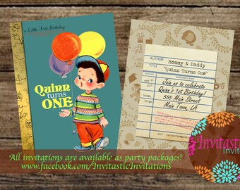 Storybook 1st Birthday Invitation - Vintage book birthday boy invitation - Story book birthday party theme - Available for any age