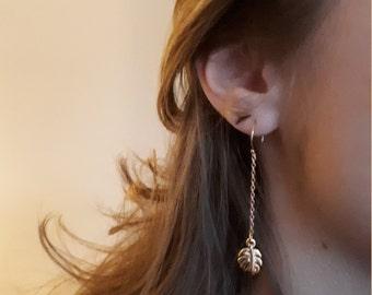Long dangling earrings with tropical Monstera leaf