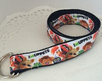 The Muppets kids belt, Adjustable Cotton, d-ring belt, easy release, UK handmade, hook and loop cartoon belt for toddlers