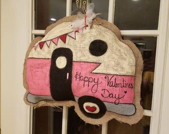 Valentine Vintage Camper Burlap Door hanger