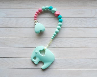 Baby Girl Pacifier Clip, Silicone Pacifier Holder, Silicone Teething Toy, BPA Free, Dummy Clip, Baby Teether, Paci Clip, Unique Baby Gift