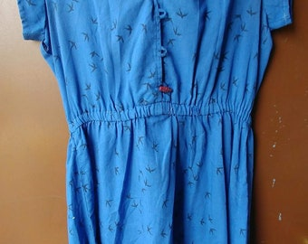 80s does 1950s Blue cotton day dress